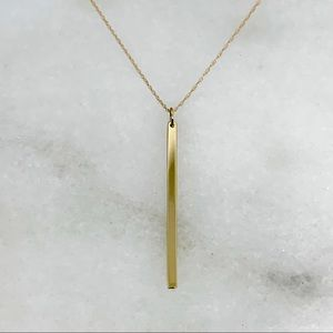 "Jewelry - 14K Gold Vertical Line Pendant w/ 20"" Chain 1.34g"